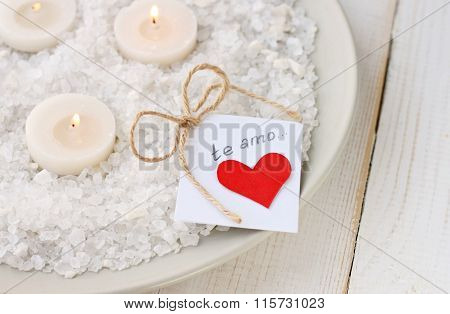 Candles and love note.