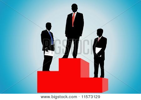 Businessmen On A Podium