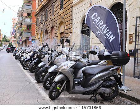 Roma, Italy, January, 16, 2016: motorcycle parking in Roma, Italy