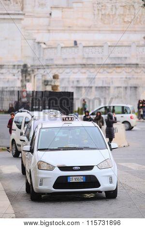 Roma, Italy, January, 16, 2016: taxi parking in Roma, Italy