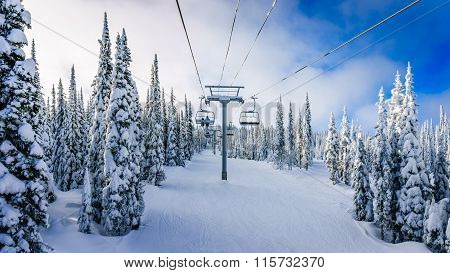 Alpine Chairlift on the ski hill