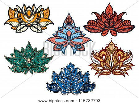 Colorful paisley flowers with indian motifs