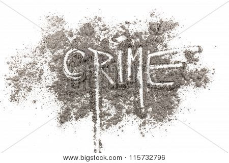 Word Crime Written In Ash