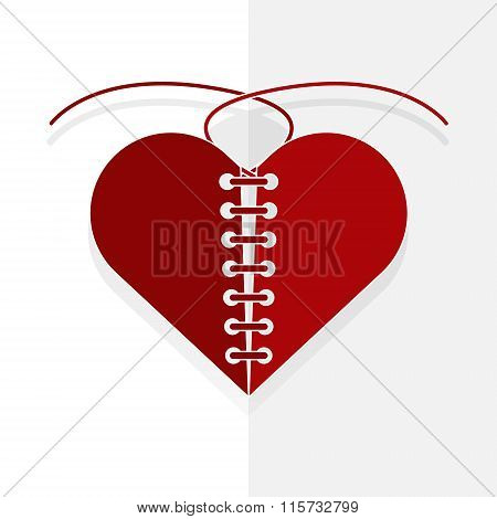 Recovery The Broken Red Heart With Thread Paper Cut Style On White. Vector Illustration Valentine's