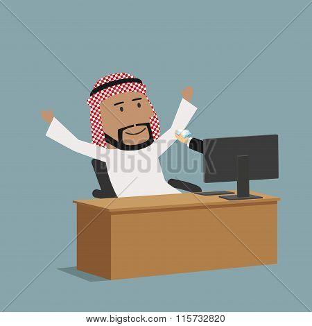 Arabian businessman receiving a diamond