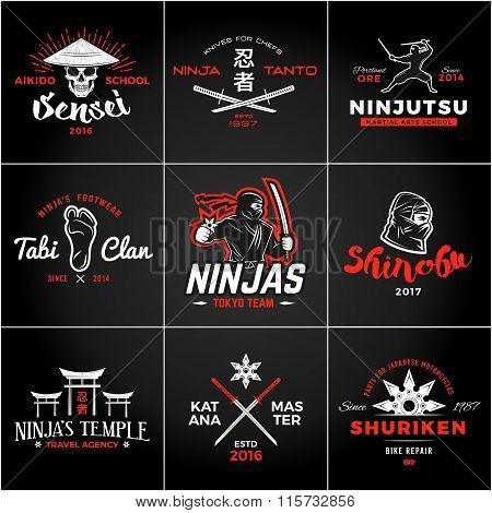 Set of Japan Ninjas Logo. Katana weapon insignia design. Vintage ninja mascot badge. Martial art Tea