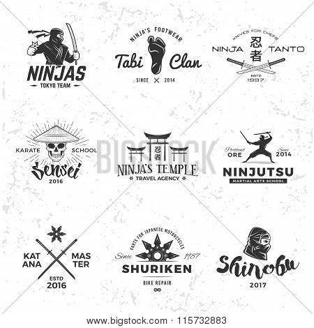 Set of Japan Ninja Logo.  Sensei skull insignia design. Sport samurai mascot badge. Katana master t-