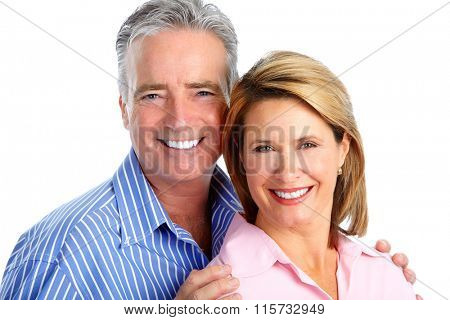 Happy laughing elderly couple.