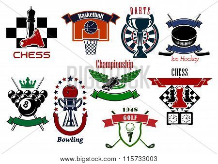 Sport games emblems and symbols for t-shirt design