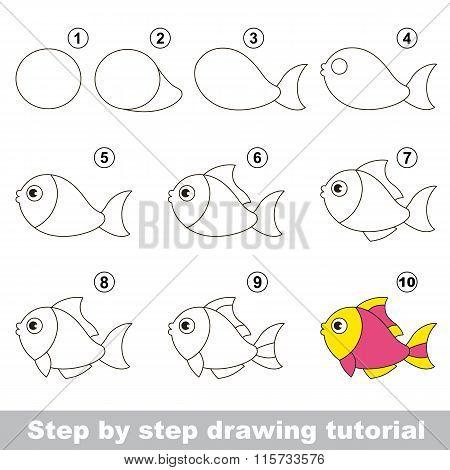 Funny fish. Drawing tutorial.