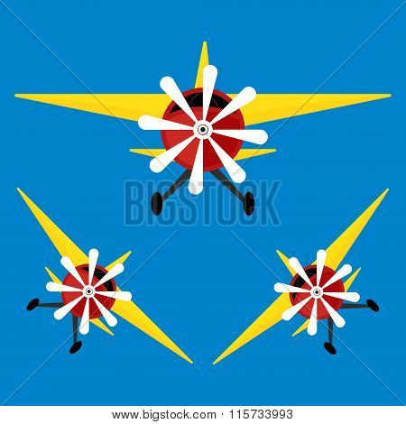 Airplane With Yellows Wing On Blue Sky Background. Vector Illustration Flat Design.