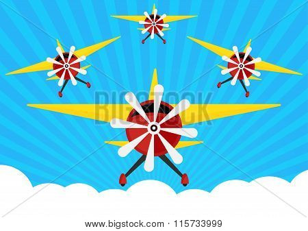 Group Of Airplane With Yellows Wing On Sun Rays With Blue Sky And Cloud Background. Vector Illustrat