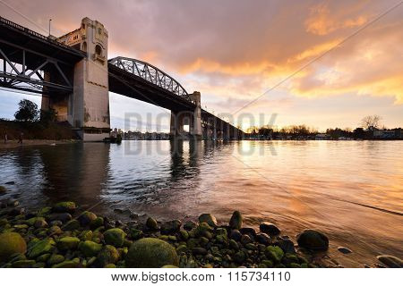 Vancouver's Historic Burrard Bridge At Winter Sunset
