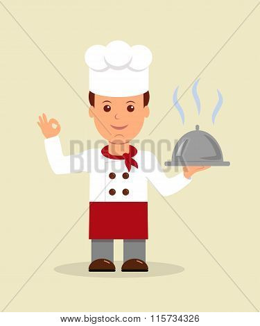 Young professional chef. A cartoon happy chef character holding a platter.