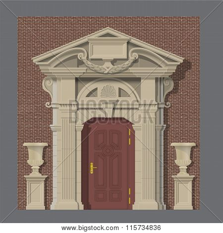vector image, stone entrance of house