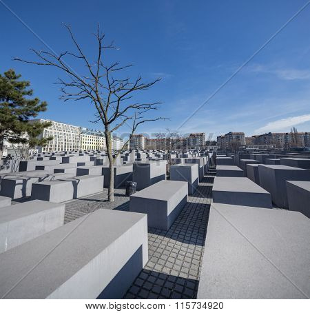 BERLIN, GERMANY - MARCH 8, 2015: Jewish Holocaust Memorial, Berlin, Germany