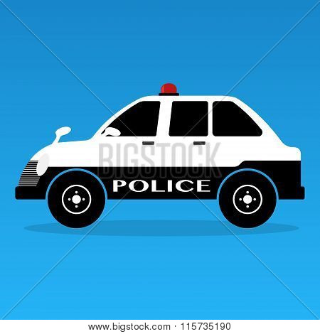 Police Cars Classic Style With Siren Black And White Colors On Yellows Background . Vector Illustrat