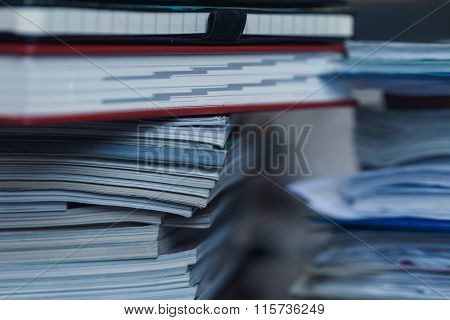 Large Pile Of Magazine, Notebook And Books Closeup