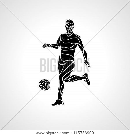 Soccer or football player kicks the ball, sportsman silhouette