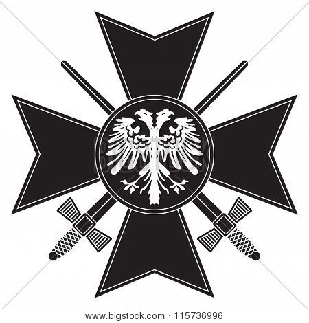 Old Military Order. Black Cross With Swords And Eagle. Army Award.