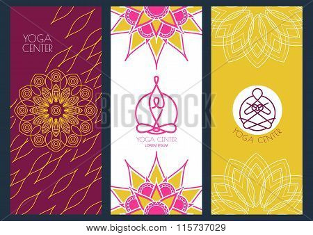Set Of Vector Banners Template For For Yoga Class. Abstract Outline Illustration Of Person In Lotus
