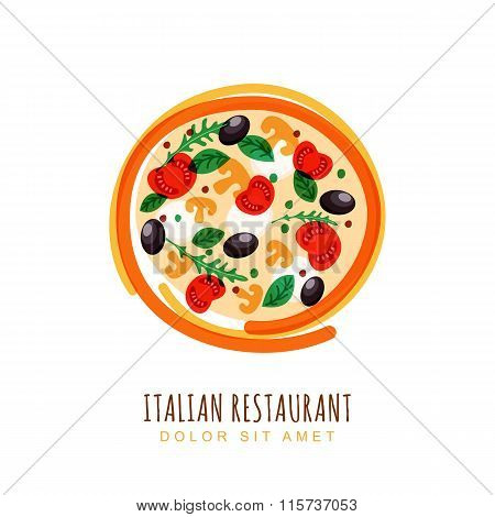 Hand Drawn Doodle Illustration Of Italian Pizza With Tomato, Mushrooms, Olives And Mozzarella. Abstr