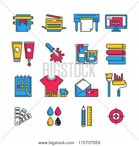 Vector Flat Printing Icons Set In Cmyk Colors. Concept For Copy Center, Printing Service, Publishing