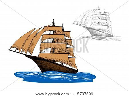Sailing ship among blue ocean waves