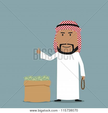 Arabian businessman with full bag of money