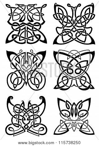 Celtic tattoos of black butterflies