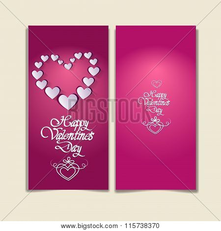 Pink Valentine Day Gift Card Holiday Love Heart Shape