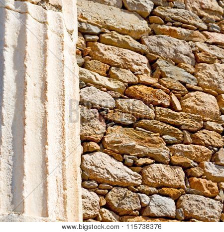 In  Athens The      Old Column  Stone  Construction Asia Greece And  Roman Temple