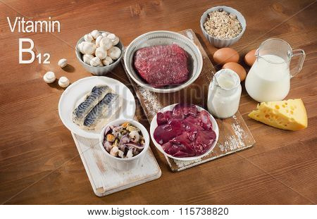 Foods Highest In Vitamin B12 (cobalamin) On A Wooden Background.