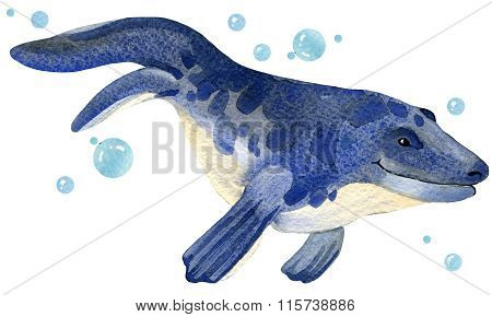 Dinosaur. Dinosaur Watercolor drawing. Dinosaur illustration. Cartoon dinosaur.
