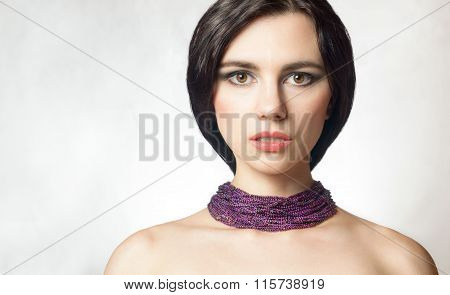 Glamorous Portrait Of A Beautiful Female Model With Fresh Makeup And Hair Pick . Sexy Lips Gloss Mak