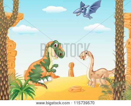Cartoon happy dinosaur collection with prehistoric background