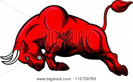 Illustration of angry bull character isolated on white background