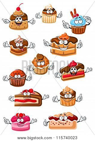 Cartoon happy pastry and bakery