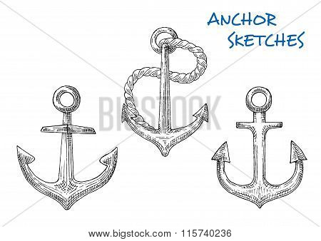 Sketches of old ship anchors with rope