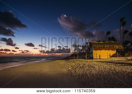 Mystic Sunrise With Moon And Stars Over The Sandy Beach In Punta Cana, Dominican Republic