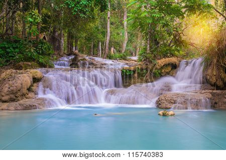 Waterfall In Rain Forest, Tat Kuang Si Waterfalls At Luang Prabang.