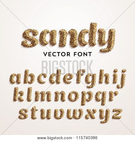 Vector sand font. Realistic characters style. Latin alphabet from A to Z.
