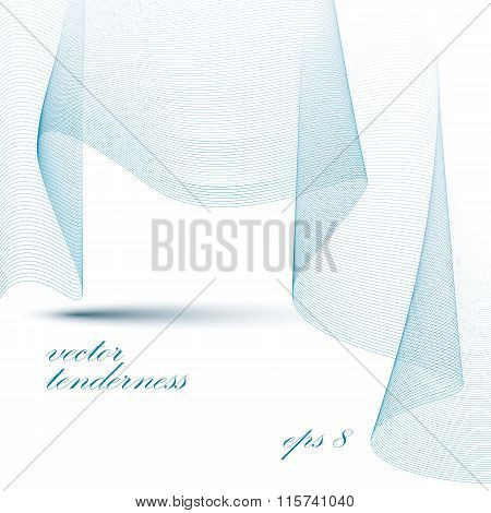 Romantic Sophisticated 3D Waved Decoration, Clear Eps 8 Vector Illustration, Passion Motif Light Bac