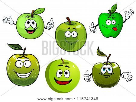 Cartoon fresh green smith apple fruits