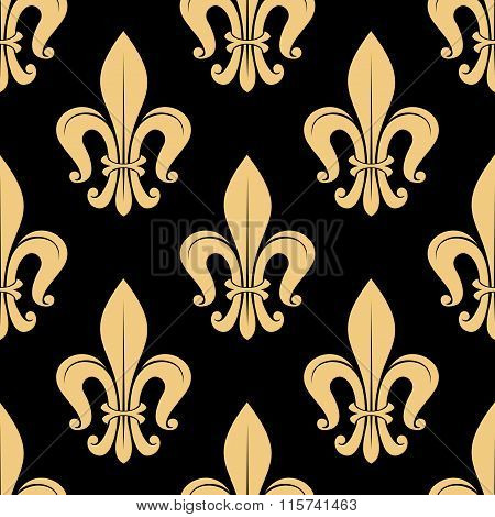 Seamless golden fleur-de-lis pattern over black