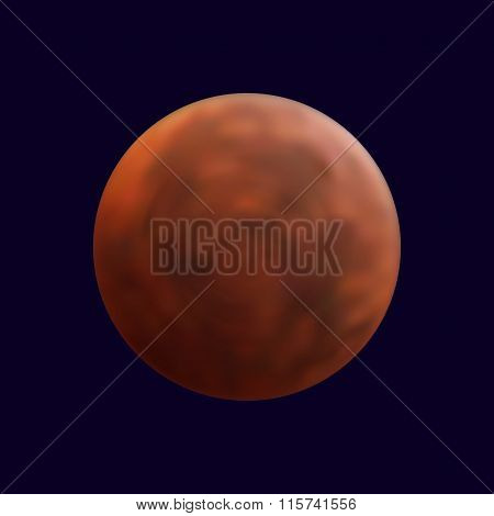 Realistic mars in the dark blue sky