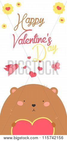 Happy Valentines Day invitation with cute Bear