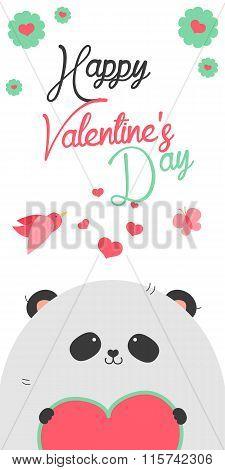 Happy Valentines Day invitation with cute Panda