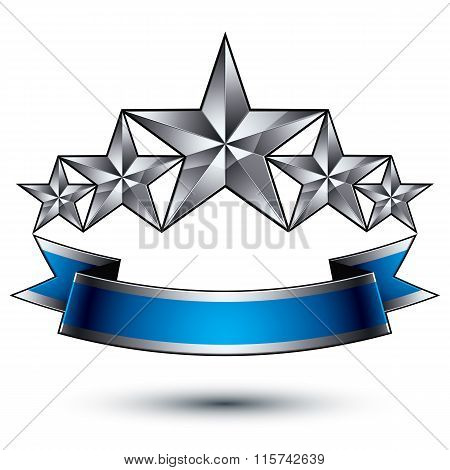 Vector Classic Emblem Isolated On White Background. Aristocratic Badge With Five Silver Stars And Bl