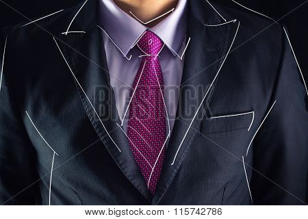 Closeup Shot Of Business Man On A Suit And Drawing Sketch